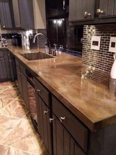 This is a unique design idea for the kitchen, concrete counter-tops. For more kitchen design ideas visit our website at ...